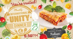 Unity Dinner: Italian Cuisine @ Bahá'í Center of Washtenaw County | Ypsilanti | Michigan | United States