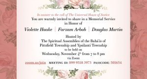 Memorial in Honor of Violette Haake, Farzam Arbab, and Douglas Martin @ online event